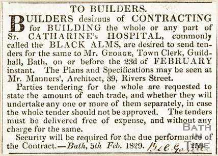 Advert to builders for the building of St. Catherine's Hospital February 5th 1829