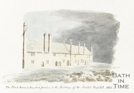 Watercolour The Black Alms as they stood previous to the buildings of The United Hospital 1825