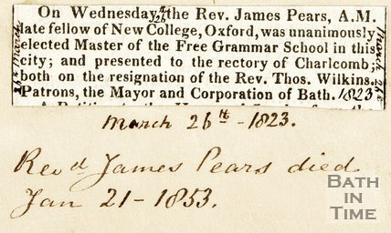 Announcing Unanimous election of Rev. James Pear as master of the Free Grammar School in Bath, March 26th 1823