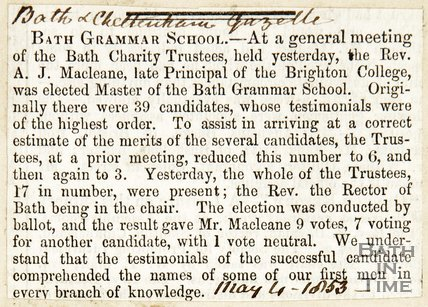Bath Grammar School Minutes from a Meeting held May 4th 1853