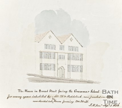 Watercolour of The house in Broad Street facing the King Edwards Grammar School, September 1st 1836