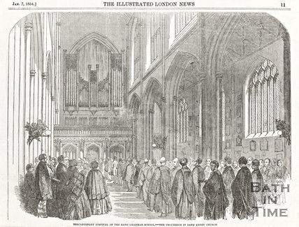 Engraving Tricentenary Festival of Bath Grammar School, The Procession in Bath Abbey Church, January 7th 1854