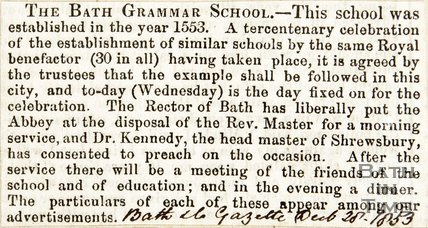 The Bath Grammar School (King Edward's) December 28th 1853