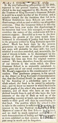 Tercentenary of King Edward Grammar School January 4th 1854