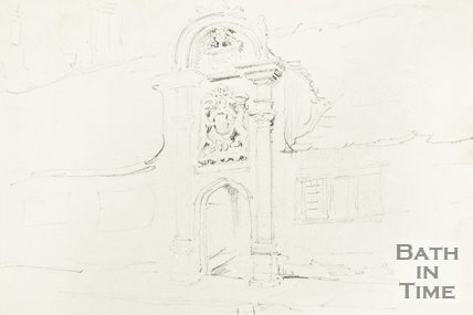 Sketch of the entrance to Bellotts Hospital