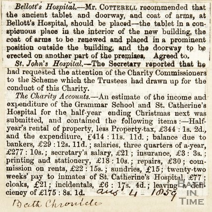 Bellotts Hospital and St. Johns Hospital, Mr Cotterell August 4th 1859
