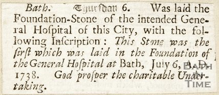 The laying of foundation stone of the General (Mineral) Hospital, Bath July 16th A.D, 1738