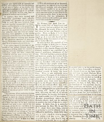 Letter to Mr Urban, Private Charities at Bath and the General Hospital January 30th 1792