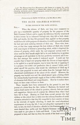 Bath Grammar School to the editor of Bath Journal 18th March 1854