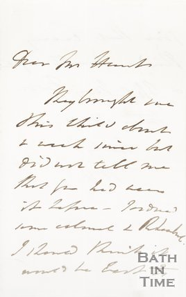 Letter to Hunt from unknown correspondent, c.1820s