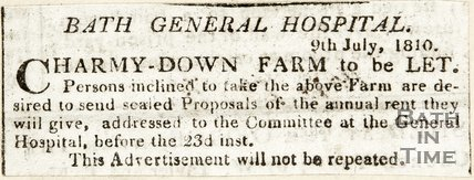 Advertisement Charmy-Down Farm to be let, July 9th 1810