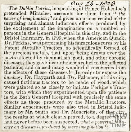 American Quack Dr Perkins, who performed miracle cures with his patent metallic tractor August 26th 1823