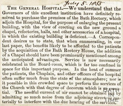 Purchase of the Premise of the Bath Rectory for the purposes of enlarging the present building July 5th 1855