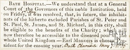 Inhabitants of Bath and diseased poor of whole UK can now use Bath Hospital May 7th 1845