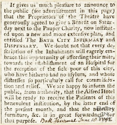 Announcing benefit for the pauper charity given by the proprietors of the Theatre, June 18th 1792