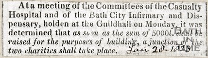 Meeting of the committees of the Casualty Hospital (Mineral Hospital) for the purposes of building, a junction of the two charities shall take place. January 28th 1823