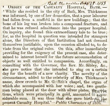 Origin of Casualty Hospital Bath, August 25th 1853