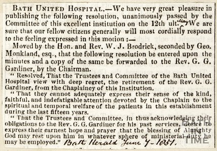 Rev. G.G. Gardener retiring, Bath United Hospital June 7th 1851