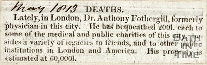 Death of Dr. Anthony Fothergill May 1813