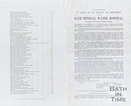 Appeal in behalf of the extension and improvements of the Bath Mineral Water Hospital January 1858