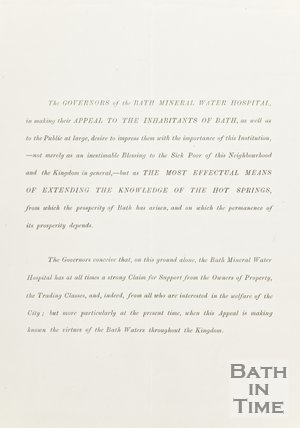 Appeal from the Governors of Bath Mineral Water Hospital to the inhabitants of Bath