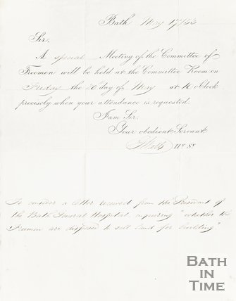 Notice From Watts (president of Bath General Hospital) May 17, 1853 Bath
