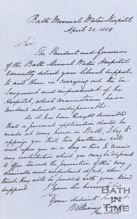Letter from William Long (President of Bath Mineral Water Hospital) April 20th 1858