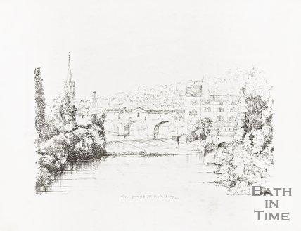 Ink Sketch View from South Parade Bridge of Pulteney Bridge Bath