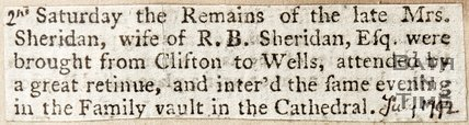 Newspaper cutting re the remains of Mrs Sheridan, 2nd July 1792