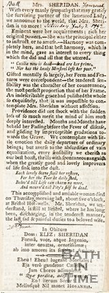 Obituary Mrs Sheridan Saturday July 2nd 1792
