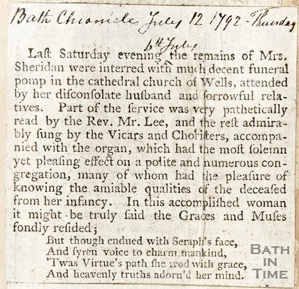 Announcing and describing the funeral of Mrs Sheridan July 12th 1792