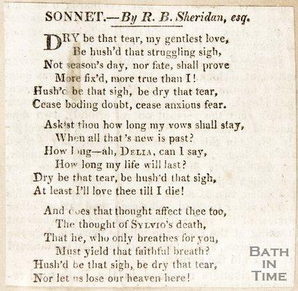 Sonnet by R.B. Sheridan Esq.