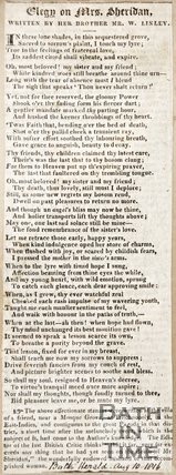 Elegy on Mrs Sheridan, by her brother Mr W. Linley August 10th 1816