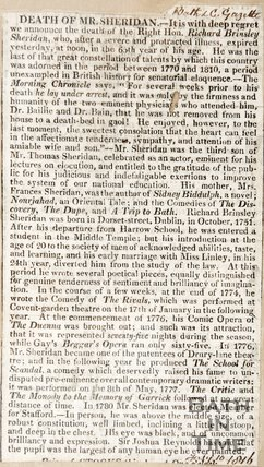 Death of Mr Sheridan, after a long and protracted illness in his 65th year, July 10th 1816