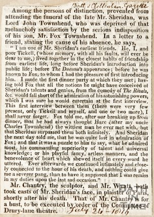 Lord John Townsend, who was deprived of attending Mr Sheridan's Funeral, due to a serious indisposition of his son Mr Fox Townsend July 24th 1816