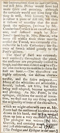 Letter to the Editor, Announcing and reviewing the play, 'Maid of Bath' by Samuel Foot, who played the main role. June 1779