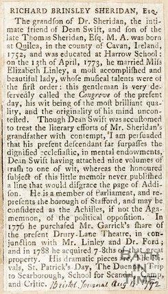 Biography of Richard Brinsley Sheridan Esq. August 4th 1792