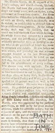 Death of Mr Charles Norris, organist after a long and violent illness (epilepsy), September 3rd 1790
