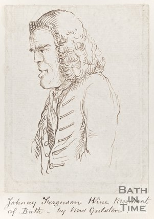 Pencil Sketch of Johnny Ferguson, Wine Merchant at Bath. Fan engraving of interior of Old Assembly Rooms