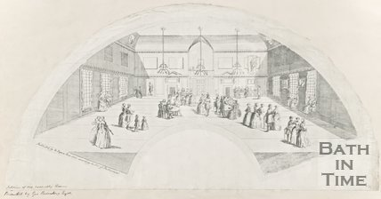 Fan engraving of Interior of Old Assembly Rooms, 1737