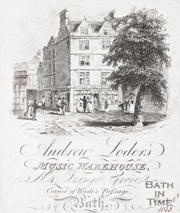 Andrew Loder's Music Warehouse, No. 4 Orange Grove, Corner of Wades Passage, Bath 1825