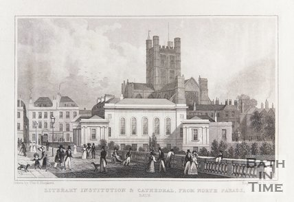 Literary Institution & Cathedral/Abbey. From North Parade, Bath, 1829
