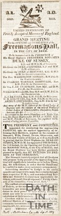 Grand Meetings for the opening and dedication of the Free-Masons Hall September 6th 1819