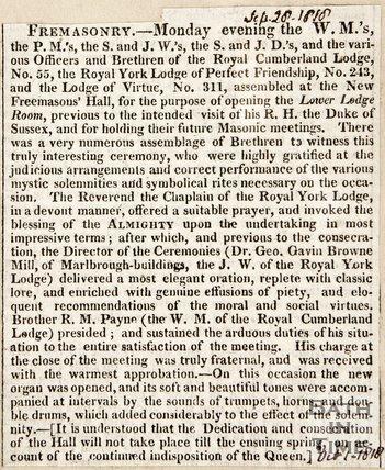 Announcing a Freemason's meeting, September 28th 1818