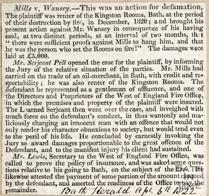 Mills vs. Wansey April 6th 1822