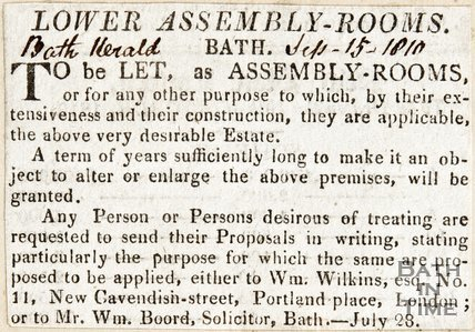Lower Assembly Rooms Bath to be let as Assembly Rooms, September 15th 1810