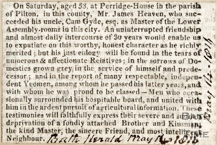 Obituary of Mr James Heaven, Master of the Lower Assembly Rooms May 14th 1816