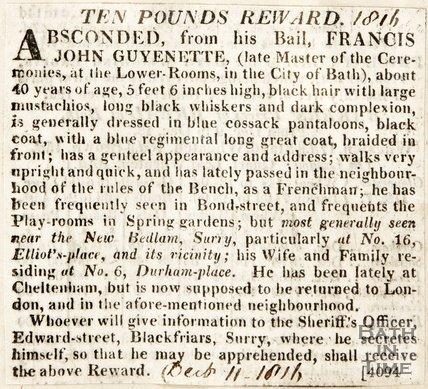 A å£10 Reward to find Francis John Guyenette December 11th 1816