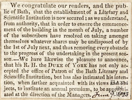 Announcing Establishment of a Literary and Scientific Institution in Bath, June 9th 1823