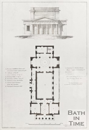 Floor Plan and Architectural drawing of Literary and Scientific Institution in Bath c.1823